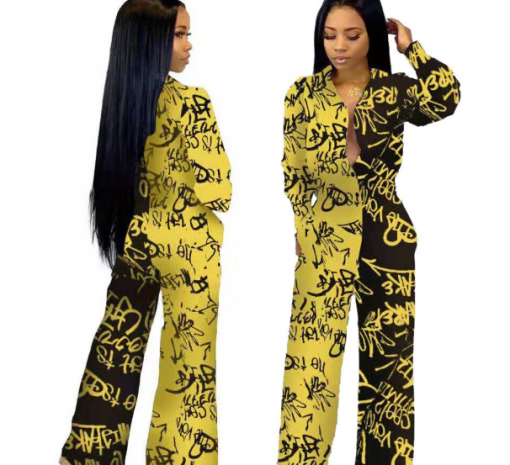 African Long Sleeve Printed Jumpsuit for Women 3