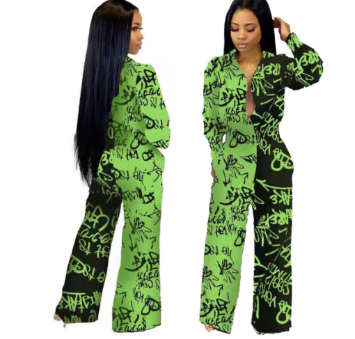 African Long Sleeve Printed Jumpsuit for Women 1