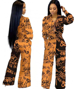 African Long Sleeve Printed Jumpsuit for Women 4