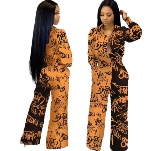 African Long Sleeve Printed Jumpsuit for Women 2