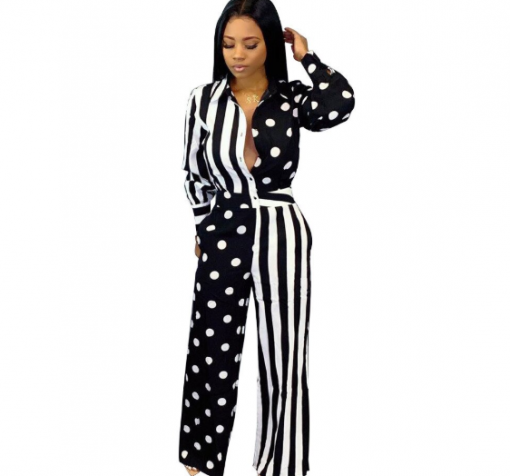 Cheap Long Sleeve Printed African Jumpsuit 1