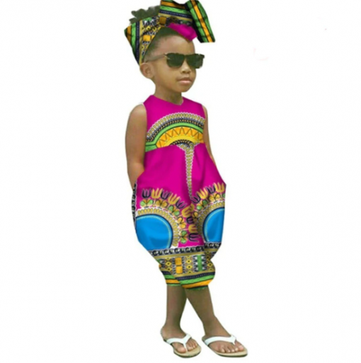 African Style Sleeveless Jumpsuit for Girl 3