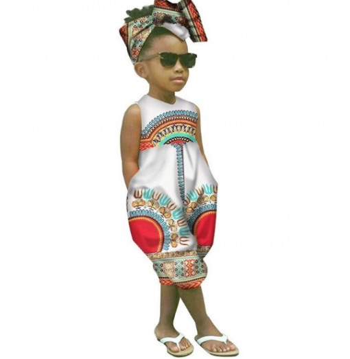 African Style Sleeveless Jumpsuit for Girl 2