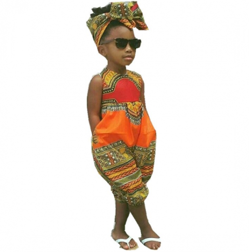 African Style Sleeveless Jumpsuit for Girl 1