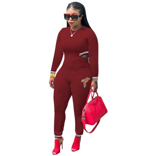 Sexy Casual African Jumpsuits - Long Sleeve 2